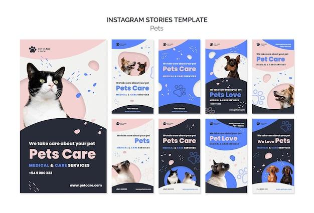 Modelo de design de histórias de instagram para cuidar de animais de estimação
