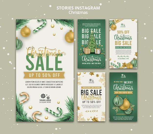 Modelo de design de histórias de instagram para venda de natal