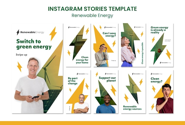 Modelo de design de histórias de istagrama de energia renovável