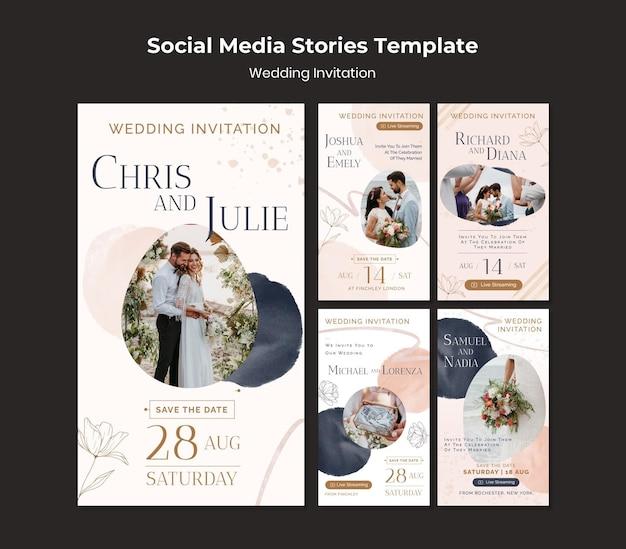 Modelo de design de histórias de mídia social para convites de casamento