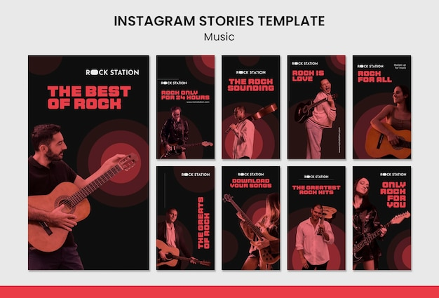 Modelo de design de histórias de música instagram