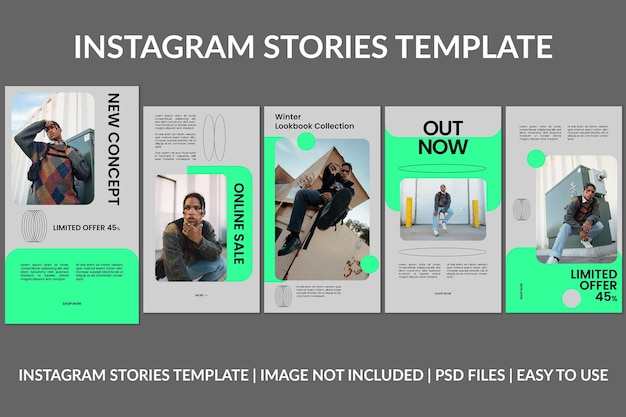 Modelo de design de histórias do instagram cinza da moda