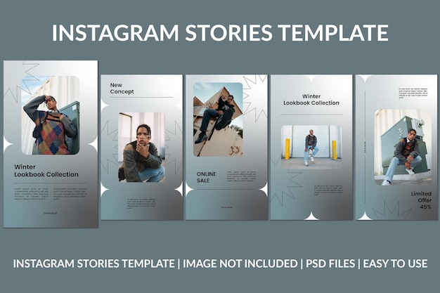 Modelo de design de histórias do instagram de gradiente de moda