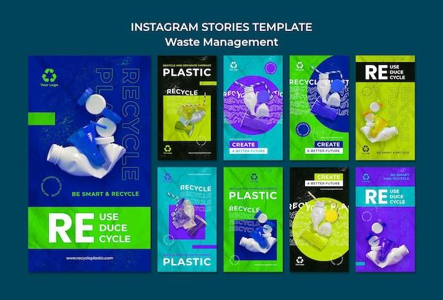 Modelo de design de histórias insta de gestão de resíduos