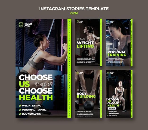 Modelo de design de histórias insta gym