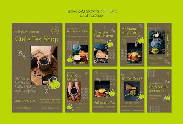 Modelo de design de histórias insta para uma loja de chá local