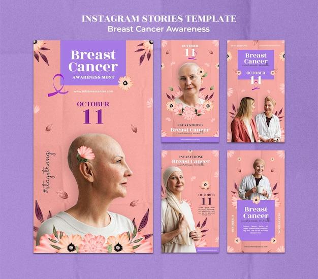 Modelo de design de histórias instagram de conscientização sobre câncer de mama