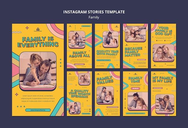 Modelo de design de histórias para família no instagram