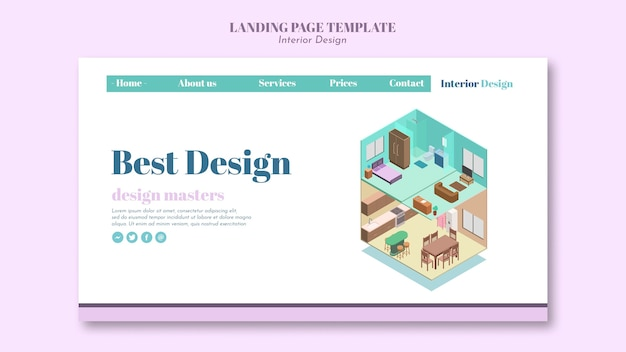 Modelo de design de interiores da página de destino