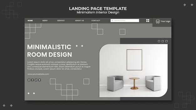 Modelo de design de interiores minimalista da página de destino