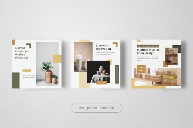 Modelo de design de interiores para banner de postagem do instagram