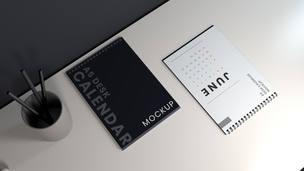 Modelo de design de maquete de calendário de mesa