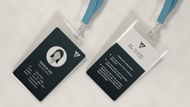 Modelo de design de maquete de cartão de identificação de escritório