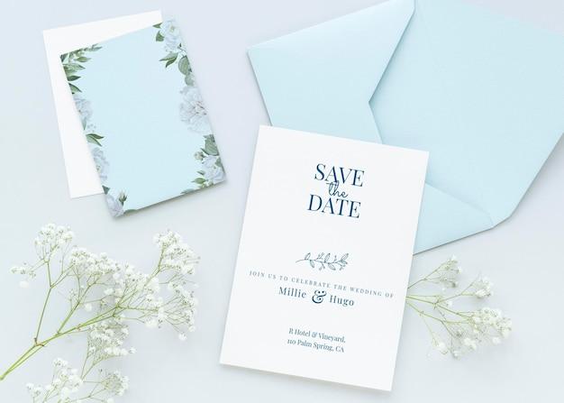 Modelo de design de maquete de cartões de casamento brancos