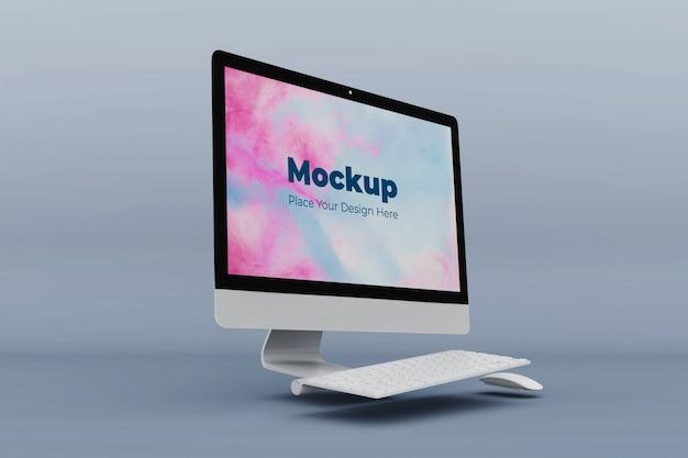 Modelo de design de maquete de computador escritório moderno