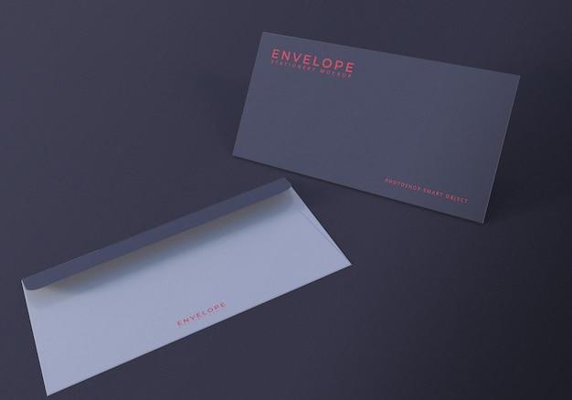 Modelo de design de maquete de envelope escuro de escritório