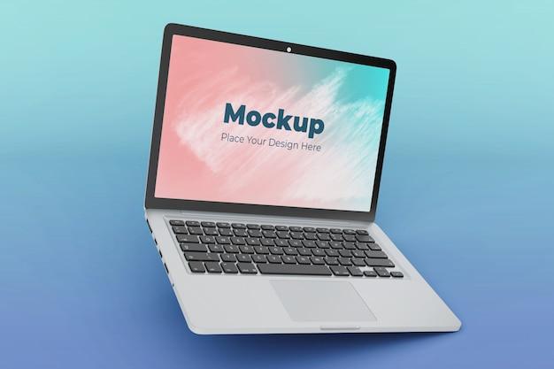 Modelo de design de maquete de laptop flutuante personalizável