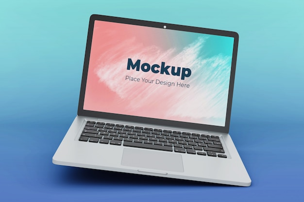 Modelo de design de maquete de laptop flutuante
