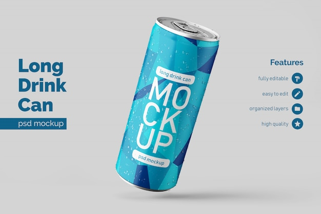 Modelo de design de maquete de lata de bebida de metal longo flutuante premium personalizável