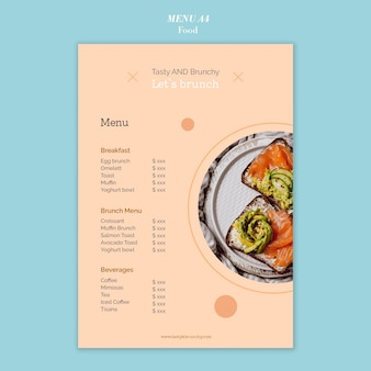 Modelo de design de menu de comida