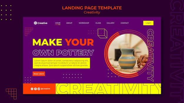 Modelo de design de página de destino criativo e imaginativo