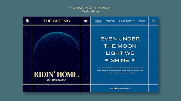Modelo de design de página de destino de álbum de música