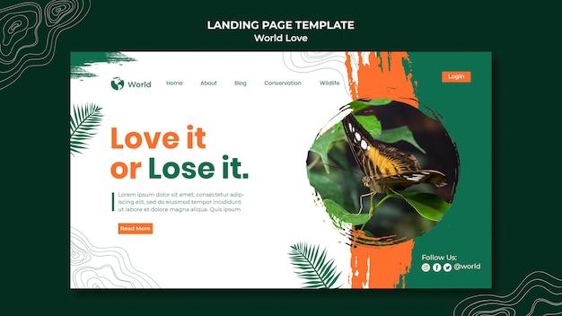 Modelo de design de página de destino de amor mundial