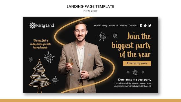Modelo de design de página de destino de ano novo