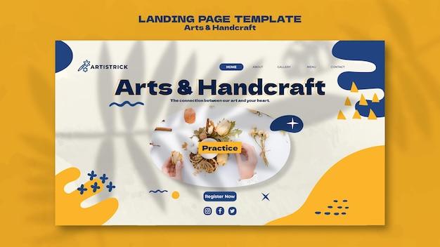Modelo de design de página de destino de artes e artesanato