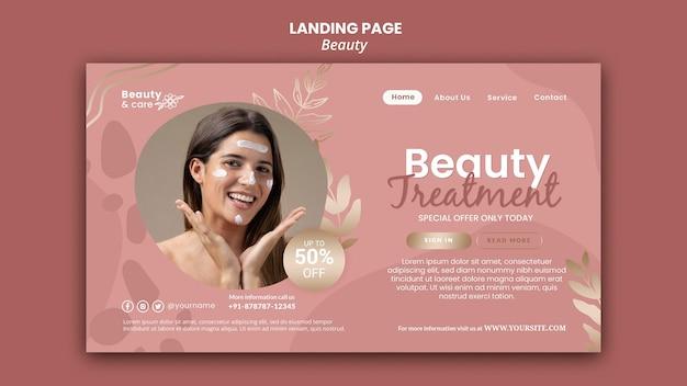 Modelo de design de página de destino de beleza