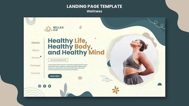 Modelo de design de página de destino de bem-estar