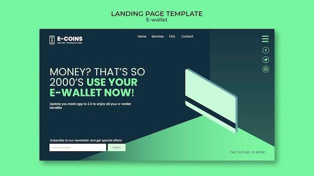 Modelo de design de página de destino de carteira eletrônica