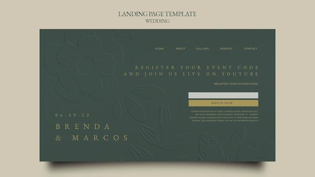 Modelo de design de página de destino de casamento
