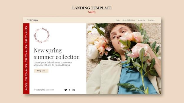 Modelo de design de página de destino de coleção de moda primavera verão