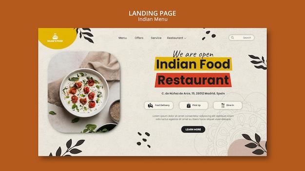 Modelo de design de página de destino de comida indiana