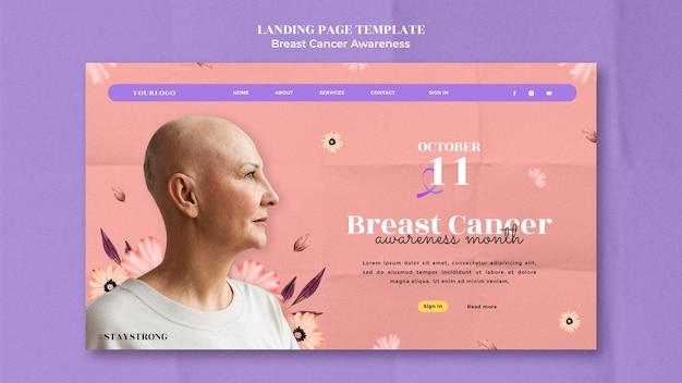 Modelo de design de página de destino de conscientização sobre câncer de mama