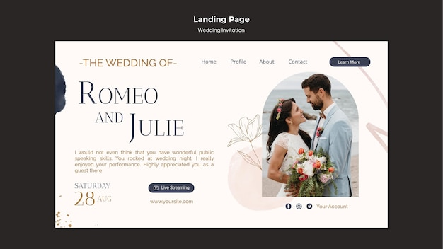 Modelo de design de página de destino de convite de casamento