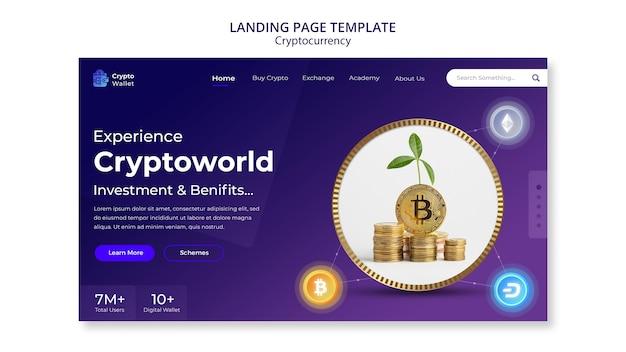 Modelo de design de página de destino de criptomoeda