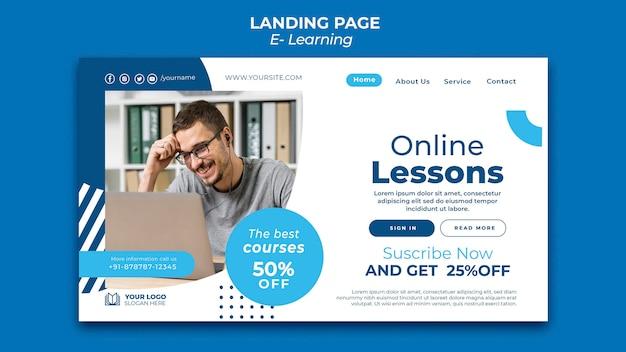 Modelo de design de página de destino de e-learning