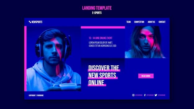 Modelo de design de página de destino de e-sports