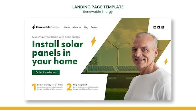 Modelo de design de página de destino de energia renovável