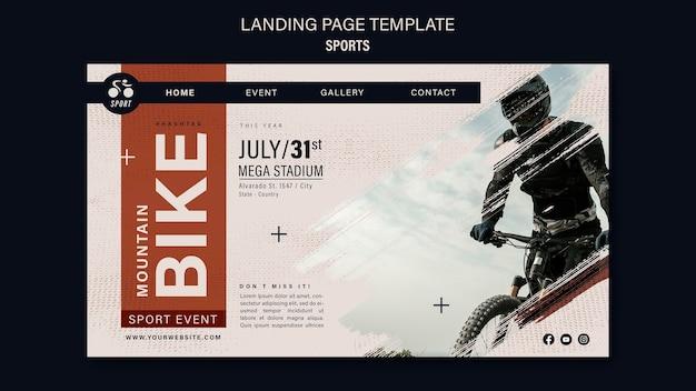 Modelo de design de página de destino de esporte de bicicleta