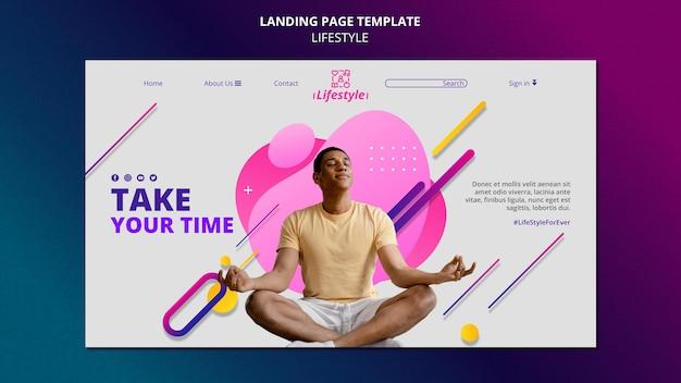 Modelo de design de página de destino de estilo de vida