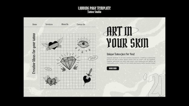 Modelo de design de página de destino de estúdio de tatuagem