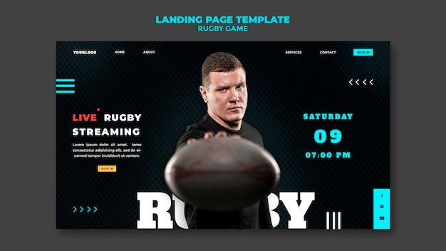 Modelo de design de página de destino de jogo de rugby