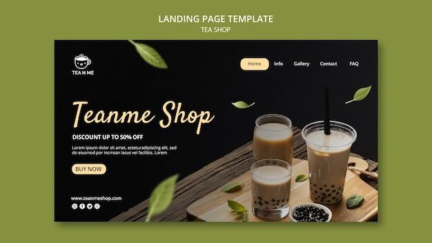 Modelo de design de página de destino de loja de chá local