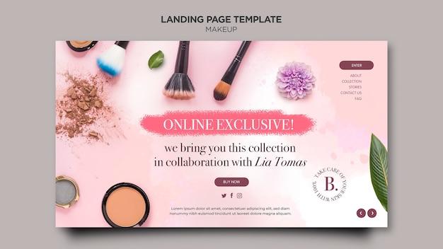 Modelo de design de página de destino de maquiagem