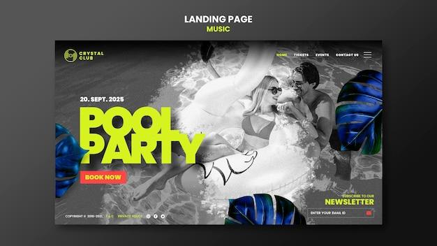 Modelo de design de página de destino de música para festa na piscina