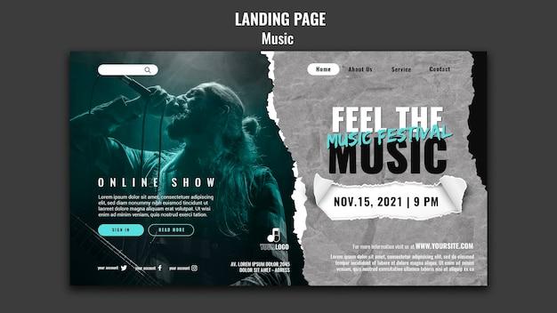 Modelo de design de página de destino de música