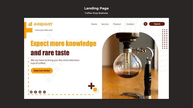 Modelo de design de página de destino de negócios para cafeteria Psd grátis